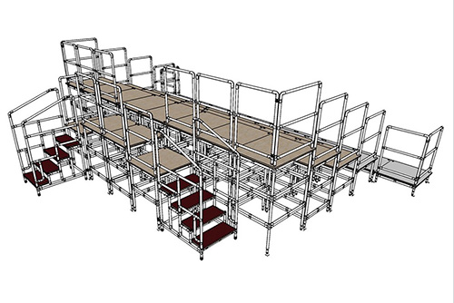 modular staging for schools include step ramps